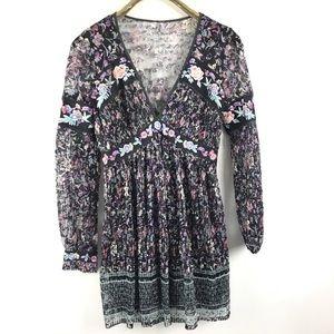Free People Embroidered Lace Boho Mini Dress